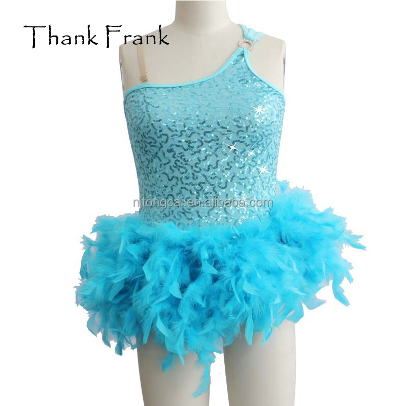 customized sequin feather camisole dance ballet costume for kids