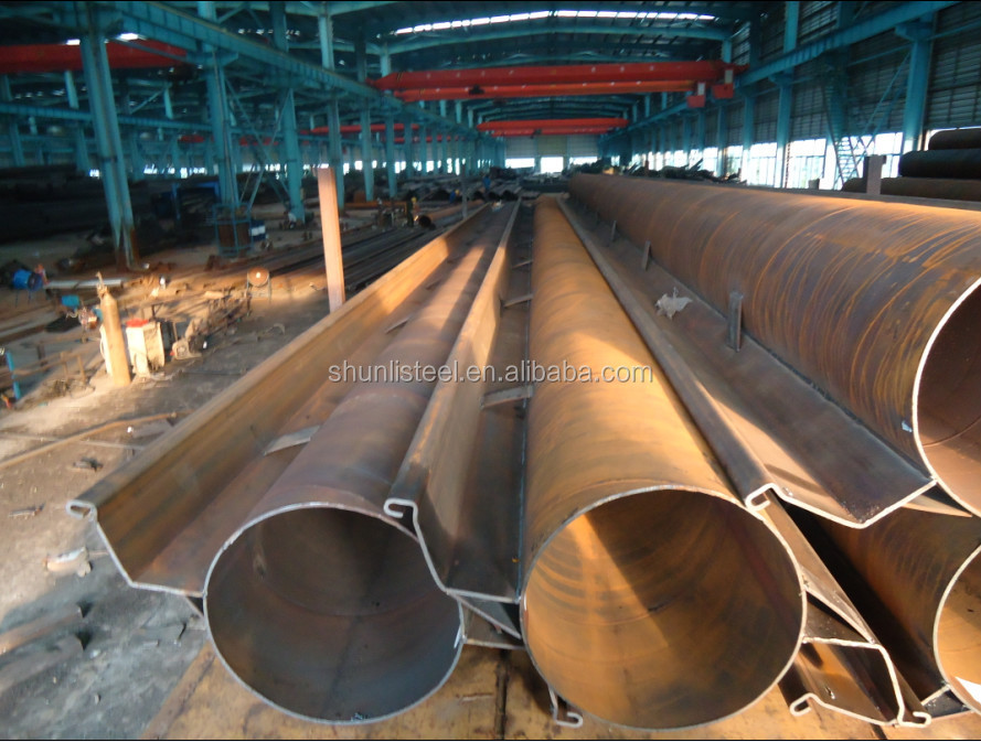 steel tube with connector supplier, steel piling with connector,SAW tubular piles with Z steel sheet piles steel pipe piling