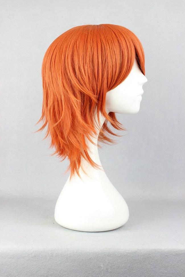 Бесплатная доставка дешевые новое поступление 35 см прямой одна часть-nami короткие оранжевый красный парик