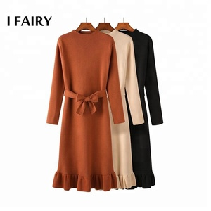 Latest design vintage mermaid girls party dresses woolen dress for winter