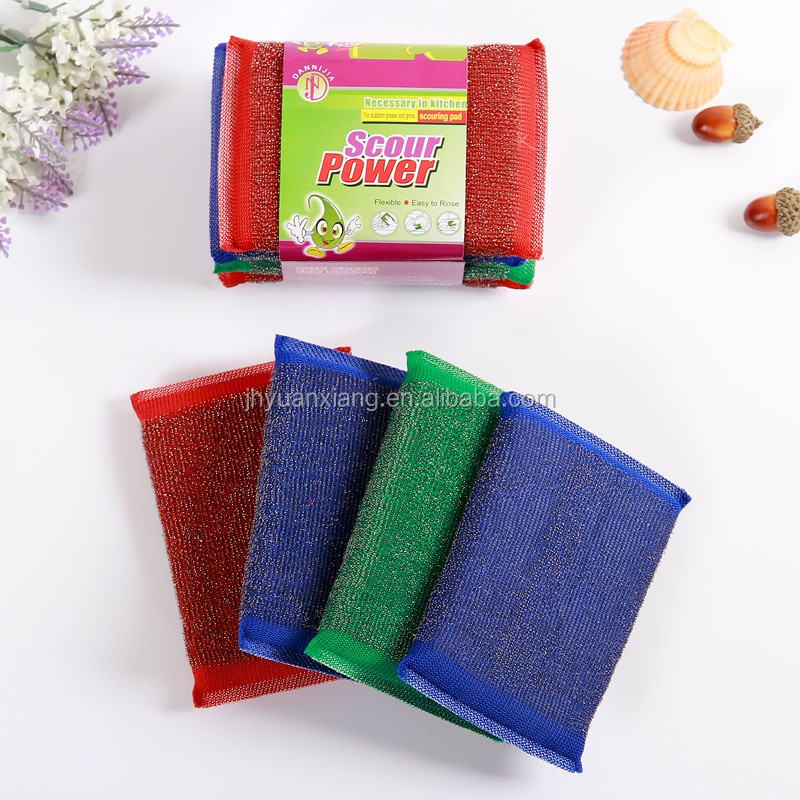 Heavy duty stainless steeel wire cloth inside cleaning sponge