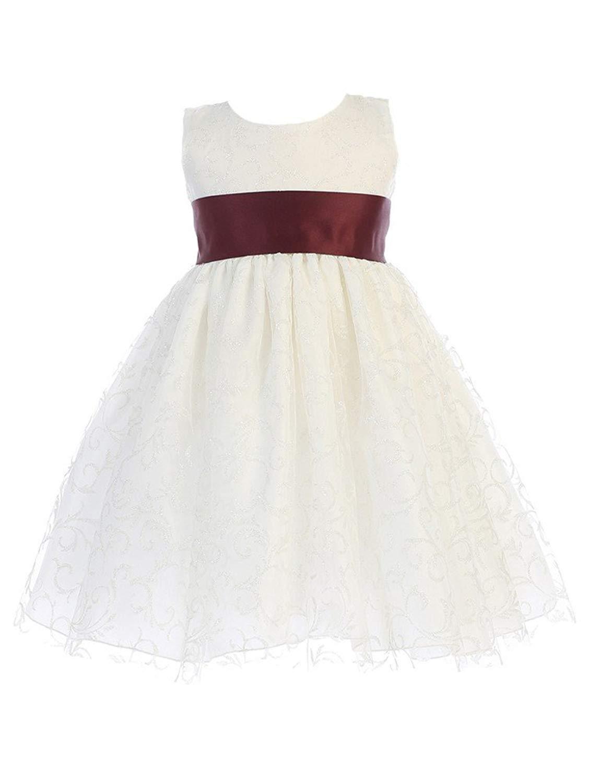089a23ee37 Get Quotations · Lito Little Girls Ivory Glitter Tulle Burgundy Sash Bow Flower  Girl Dress 18M-6