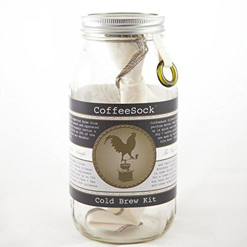 CoffeeSock ColdBrew Kit- Reusable Organic Cotton Filter and Jar (KIT64)