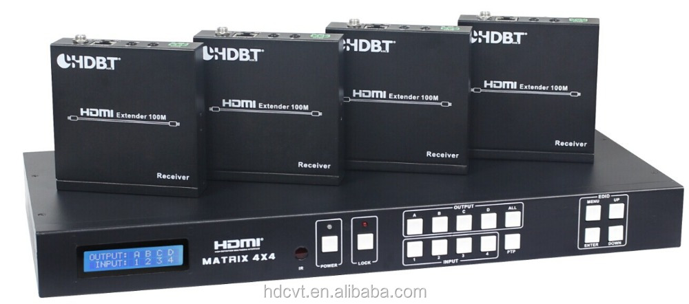 HDBaseT matrix 4 by 8 HDMI Matrix 4 to 8 over CAT 100M,4xHDMI Local output, 4x coaxial /audio output with ethernet
