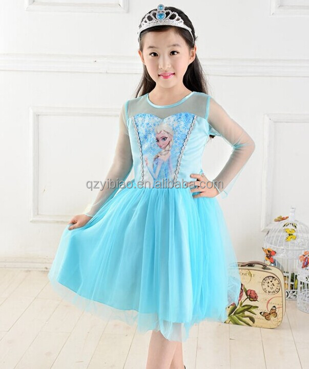 2015 High Quality Blue Mesh Baby Girl Party Dress Kids Fancy Dress ...
