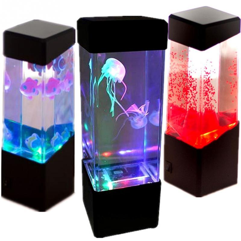 kreative led quallen aquarium stimmung lampe led k nstliche schwimmen quallen mini aquarium. Black Bedroom Furniture Sets. Home Design Ideas