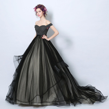 71f8ed55a2457 Zhf82 2018 New Design Black Off Shoulder Long Party Dress Ball Gown ...