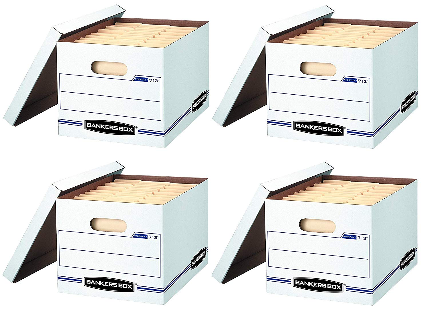 Bankers Box Stor/File Storage Box with Lift-Off Lid, Letter/Legal, 12 x 10 x 15 Inches, White, 6 Pack (0071303) (4.Sets)