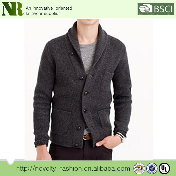 Men's Lambswool Three-pocket Knitted Button Down Cardigan Sweater ...