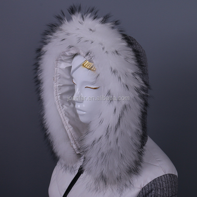 Af-35 Raccoon Fur Collar Leather Real fox Fur Natural Silver Fur Detachable Trim For garment