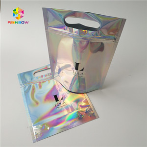 Clear front hologram ziplock packaging bags with handle for T-shirt/Cloth/glove