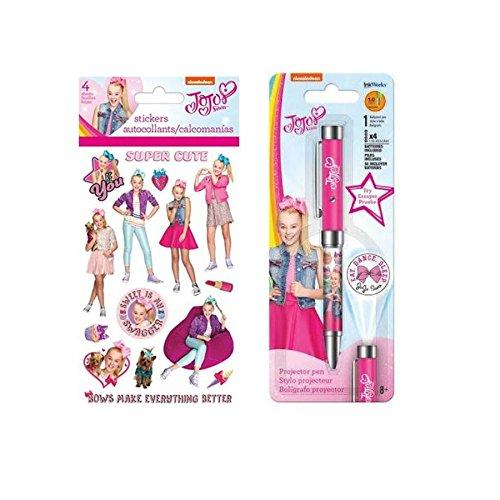 Jojo Siwa Projector Pen by Ink Works & Nickelodeon JoJo Siwa Sticker Set 4 Sheets Great Gift for Girls