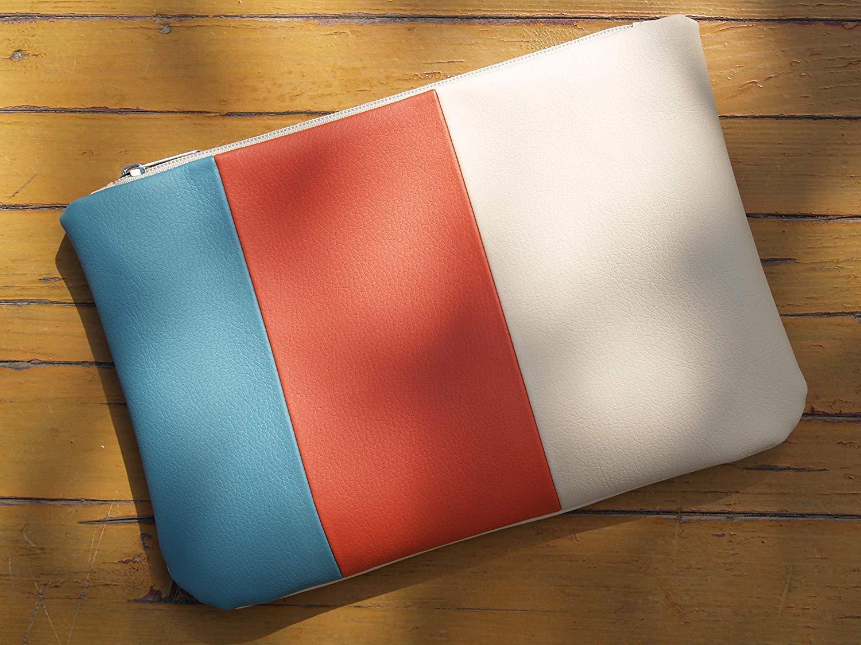 Get Quotations Clutch Bag Handmade Cream Blue Red Purse Boho Zipper Vegan Eco Faux Leather Handbag Strap