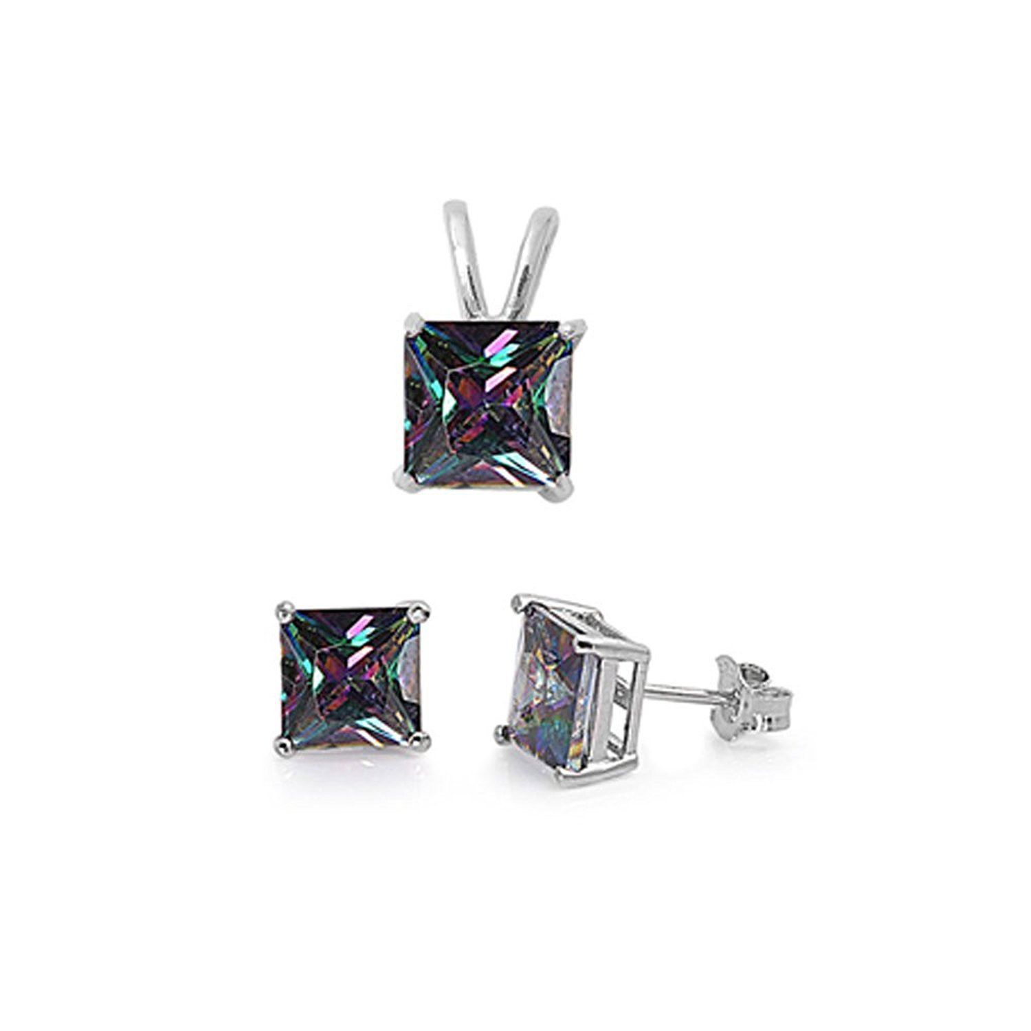 Noureda Sterling Silver Classy Princess Cut Rainbow Topaz Simulated Diamonds Stud Earrings and Pendant Set , Pendant Height of 8 x 8 MM