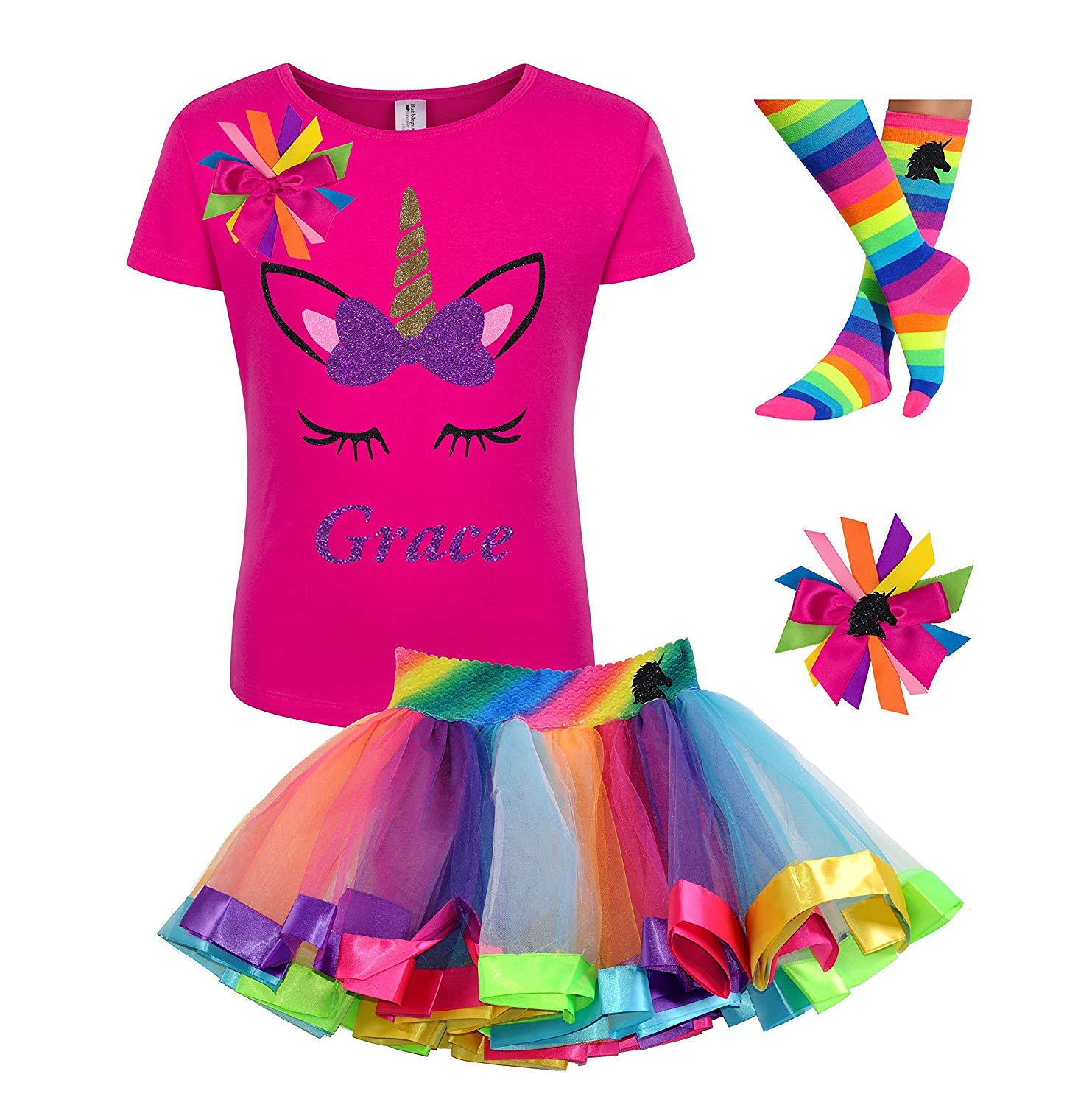 2c699bd9 Get Quotations · Custom Unicorn Shirt Rainbow Tutu Outfit Girls Birthday  Purple 4PC Gift Set Personalized Name