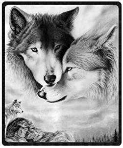 Shine-ket Press Creative Blanket black and white wolf Plush Fleece Blanket Sheet Throw Bedding Blanket Fleece Throw