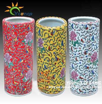 Varied Chinese Famille Rose Ceramic Cylinder Umbrella Stands Vases