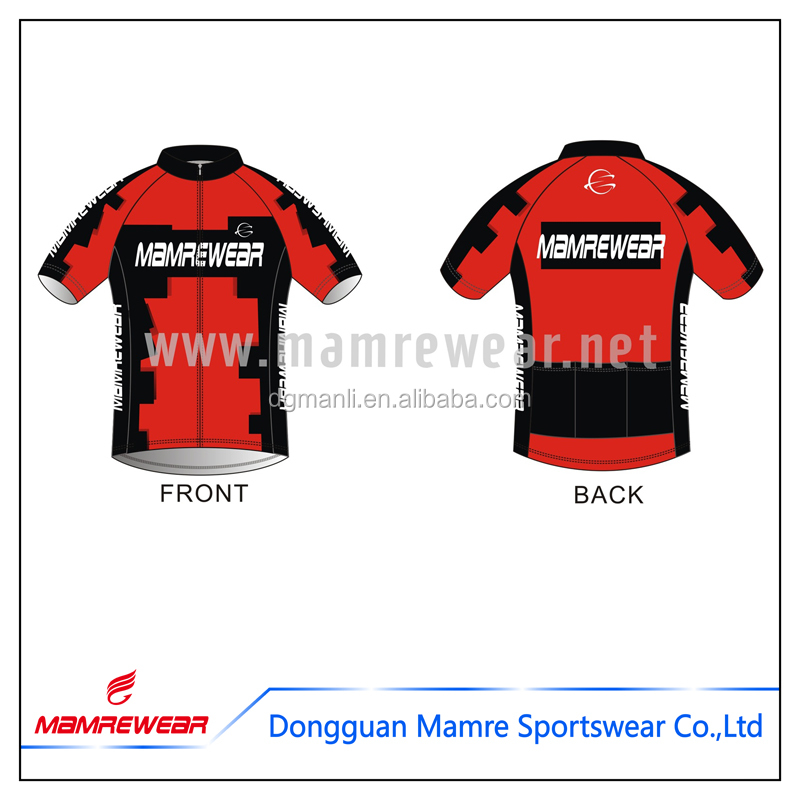China top quatity sublimation quick dry customized polyester specialized team club red bicycle clothing cycling jersey