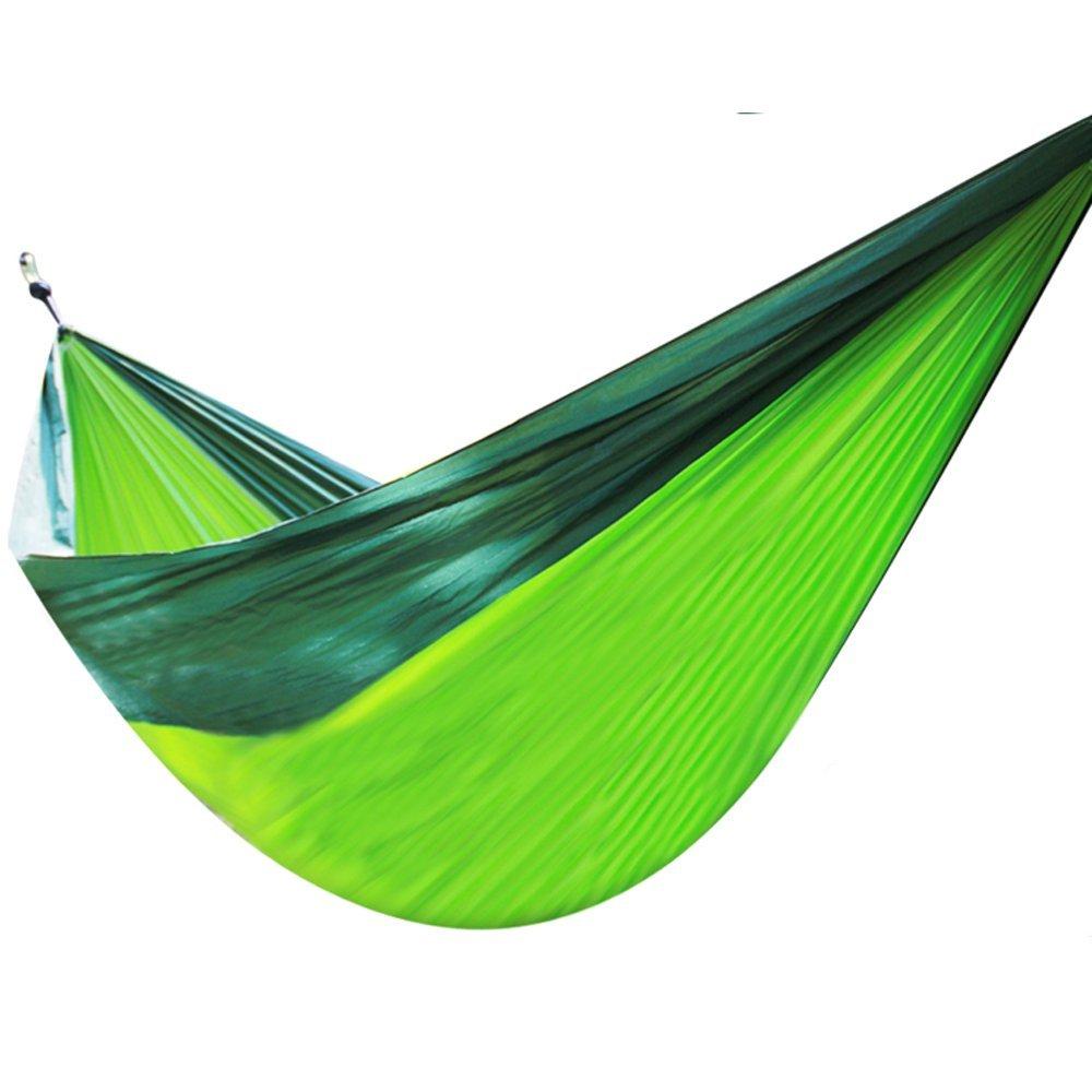 365days Camping Hammock Single / double hammock camping, travel,beach,courtyard Swing Ultra-light nylon cloth hammock (Dark green + green fruit)