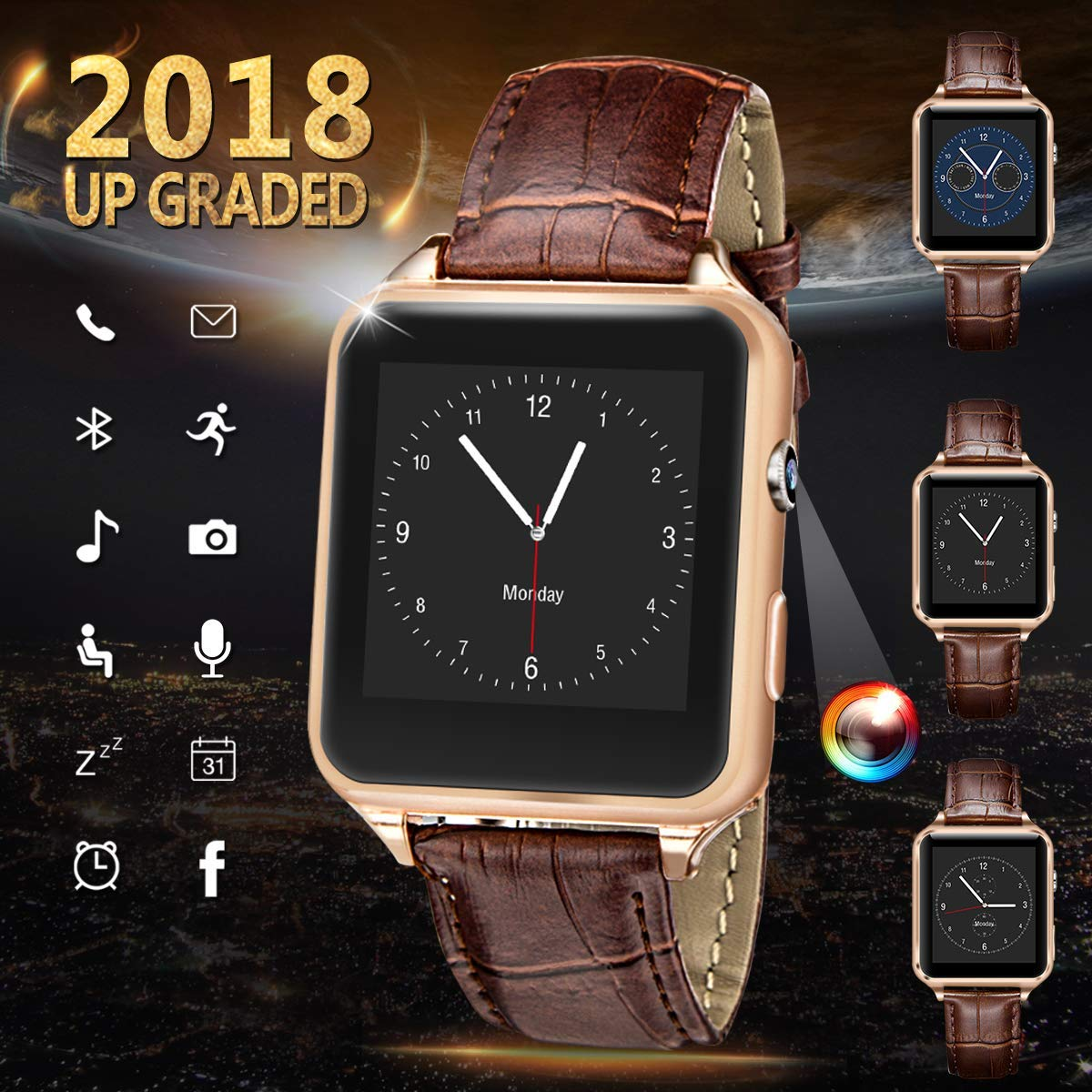 Smart Watch for Android Phones, iFunTec Touchscreen Bluetooth Smartwatch with Camera Fitness Tracker w/Pedometer Sports Smartwatch w/Phone Sim Card Slot Compatible for iPhone X Samsung Men Women Kids