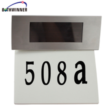 Solar Powered House Number Light 4 LED Outdoor Garden Doorplate Wall Plaque Lamp