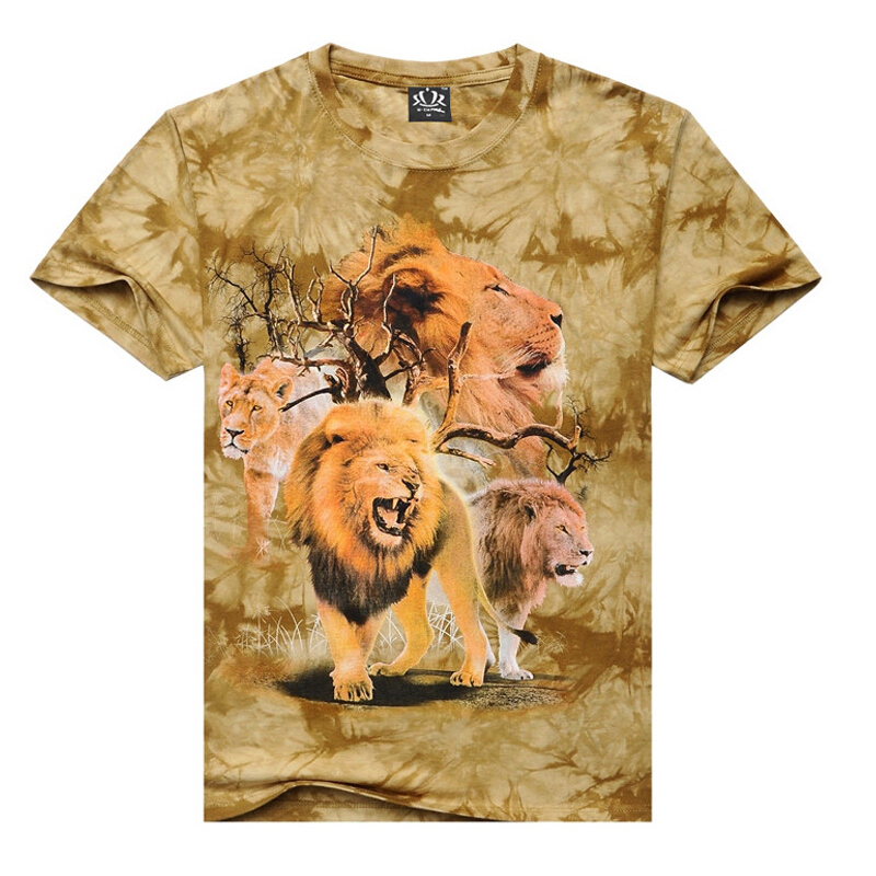 2015 new arrive Men's T-shirts 100%Cotton O-neck casual short sleeve print lion 3D T-shirts hip hop street wear Streetwear