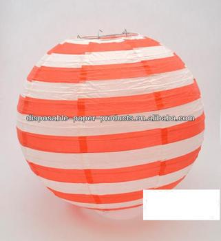 Red And White Candy Stripe Round Paper Lantern 35cm Black Printed Lanterns