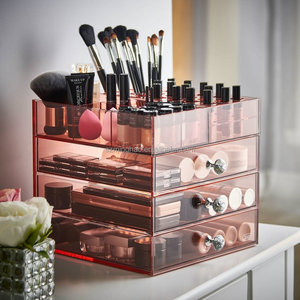 hot sale acrylic makeup organizer cosmetic holder storage display box with drawers