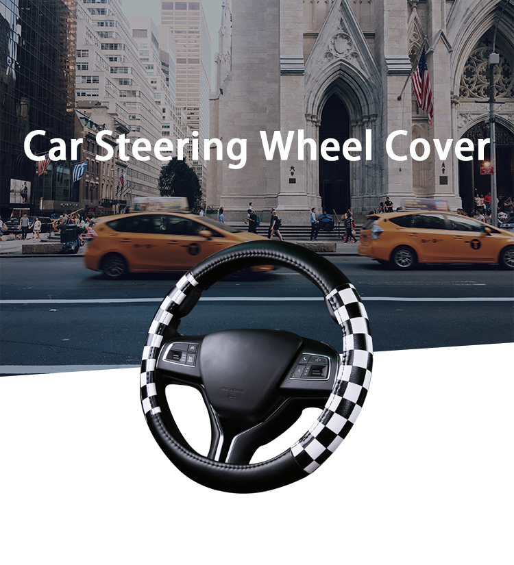 FX-P-003 black and white custom leather 1.5 inch car steering wheel cover