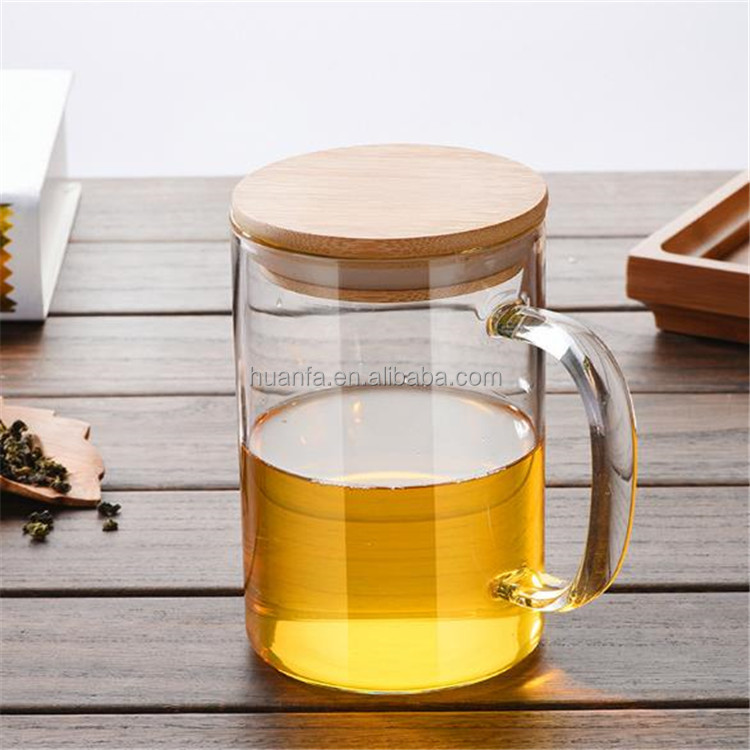 Easy Clean New Design Promotional Office Use Single Walled Glass Coffee Mug Tea Cups Glassware with Bamboo Lid and Handle 350ml