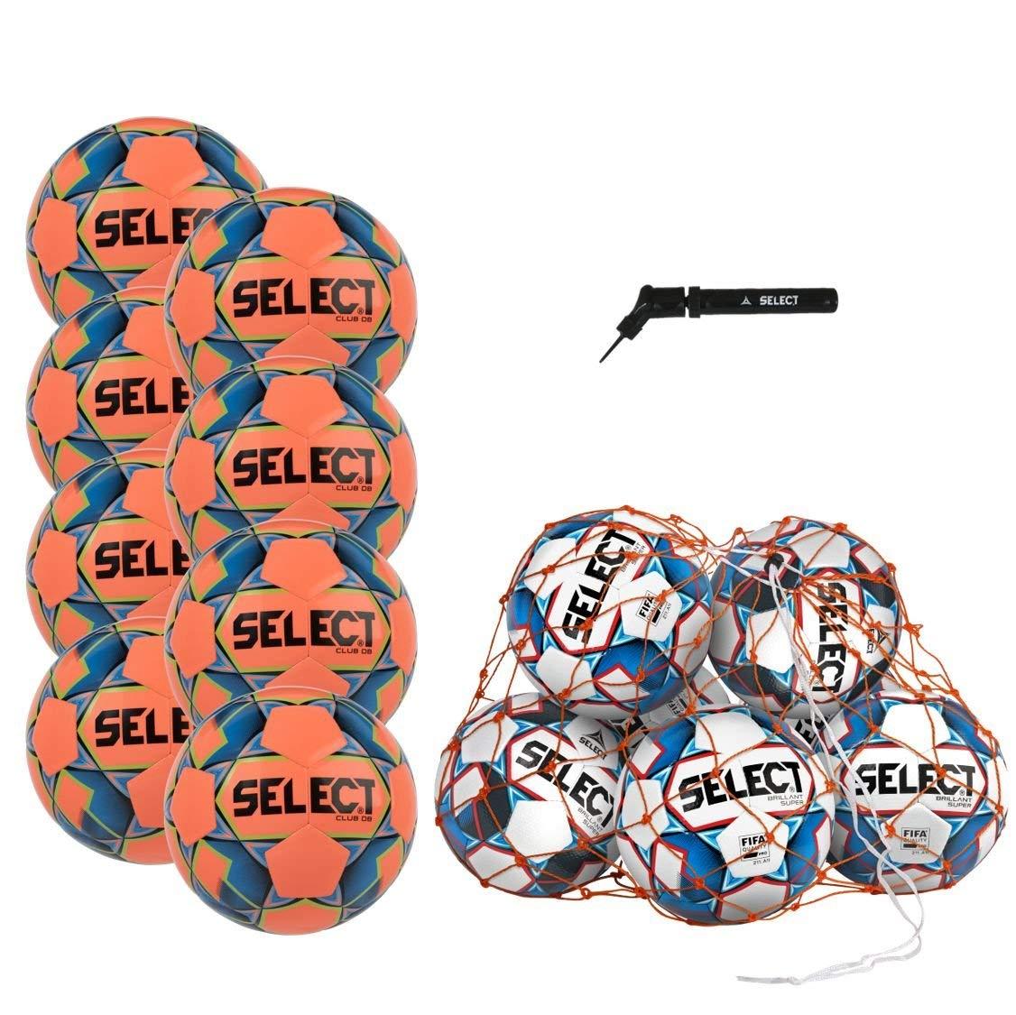 Select Club DB Soccer Ball Package - Pack of 8 Soccer Balls Ball Net Hand Pump, Orange, Size 5