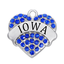 Zinc Alloy Crystal Iowa State Pave Hearts Charms Pendants Necklaces Accessories