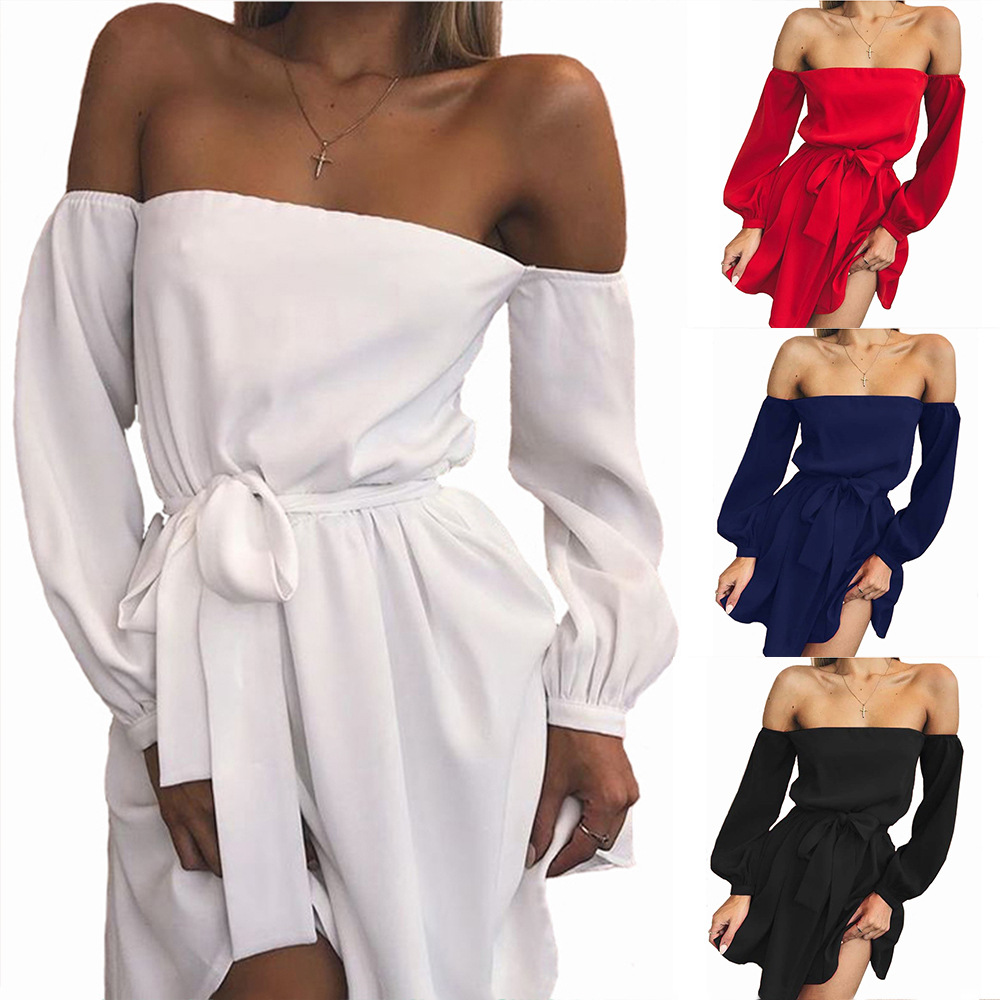 2018 Hot sell Women Casual Wrapped Chest Silm Fit Sexy Shoulder Off Mini <strong>Dress</strong>