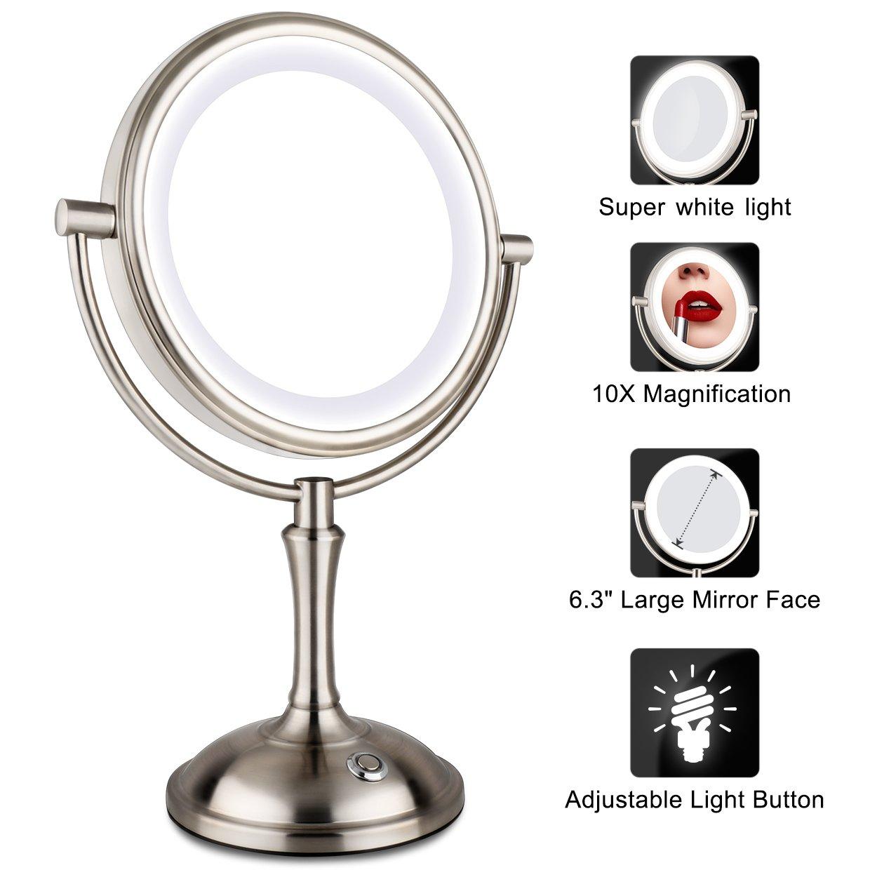 Buy AmnoAmno LED Makeup Mirror 10x Magnifying,7.8