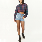 Wholesale Custom Women Long Sleeve Cropped Frayed Plaid Flannel Shirt