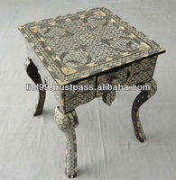 Syrian Mother of Pearl Wood Coffee Table with a Drawer