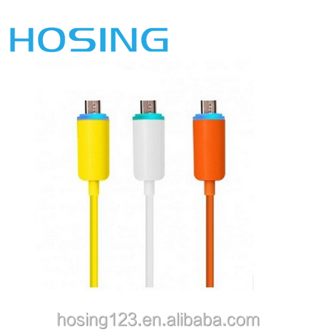 High Quality Low Price Micro USB Data Cable with LED Light for Mobile Devices