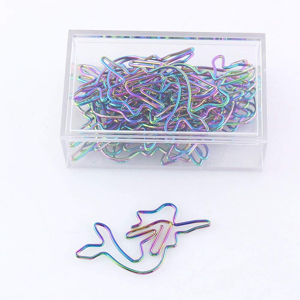 OUTU Metal 20pcs/box Shape Paper Clips rainbow Color Funny Kawaii Bookmark Office School Stationery Marking Clips H0157 (mermaid)