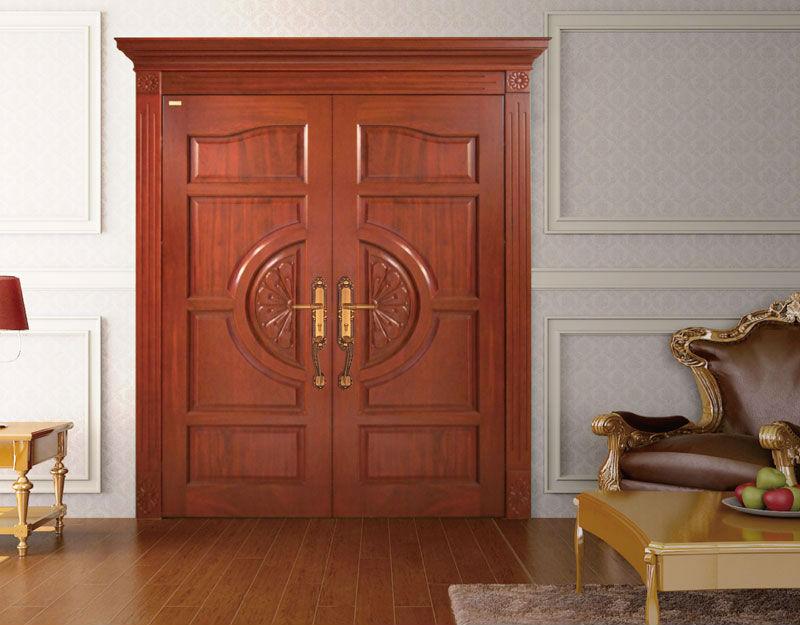 Guangzhou Double Swing Entry Interior Wood Door Solid Wooden