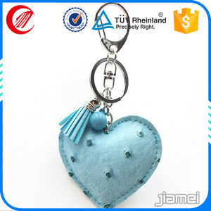 leather multi pouch key chain with human heart shape