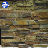 Cheap dark rusty slate stacked ledge stone for home decoration