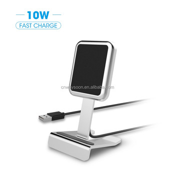 For iPhone X aluminum wireless charger stand, Adjustable QI wireless station pad