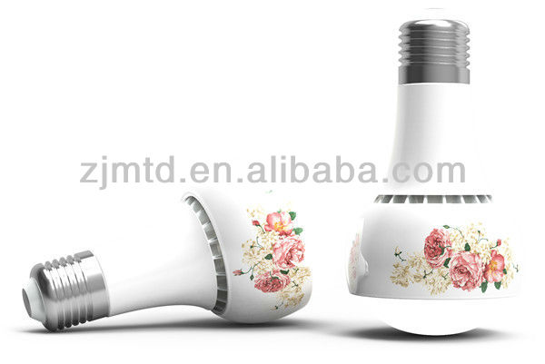 "Artistic lighting LED ceramic lamp ,LED ceramic bulb,ceramic holder ""rose pattern"""