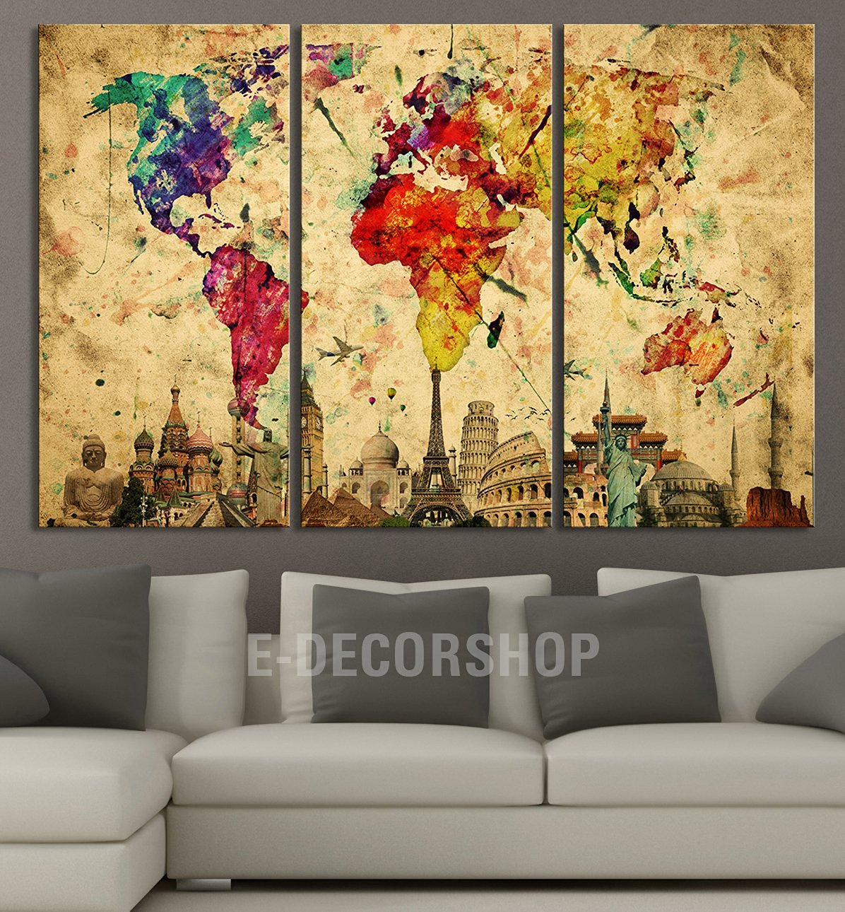 Buy Large Wall Art Canvas World Map - Colourful Ink Splashed World ...