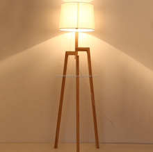 Creative personality tripod fabric uplight wooden floor lamp