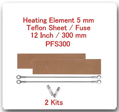 "(2 Kits) Replacement Elements for Impulse Sealer PFS-300 12""(2 Heating Elements 5MM+2 Teflon Sheets+ 2 Fuses)"