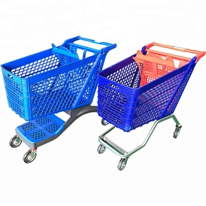 Small plastic trolley shopping cart