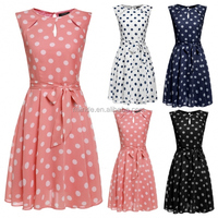 Women Sleeveless Polka Dots Chiffon Sundress Flare Flim White Pink Blue Black Wedding Cocktail Evening Party Dress With Belt