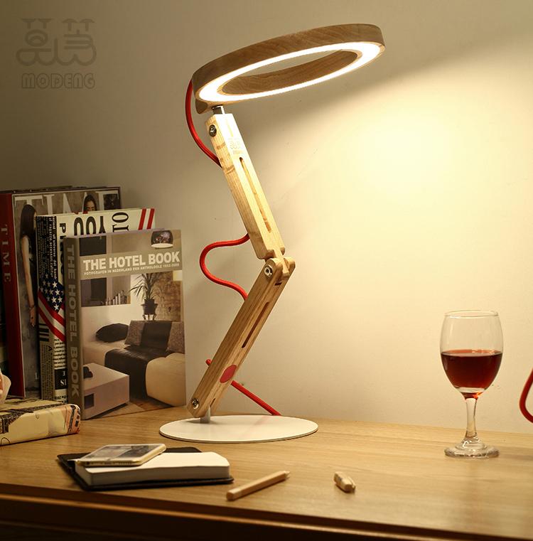 Modeng Oak Wood Desk Lamp Table Lights Modern Light