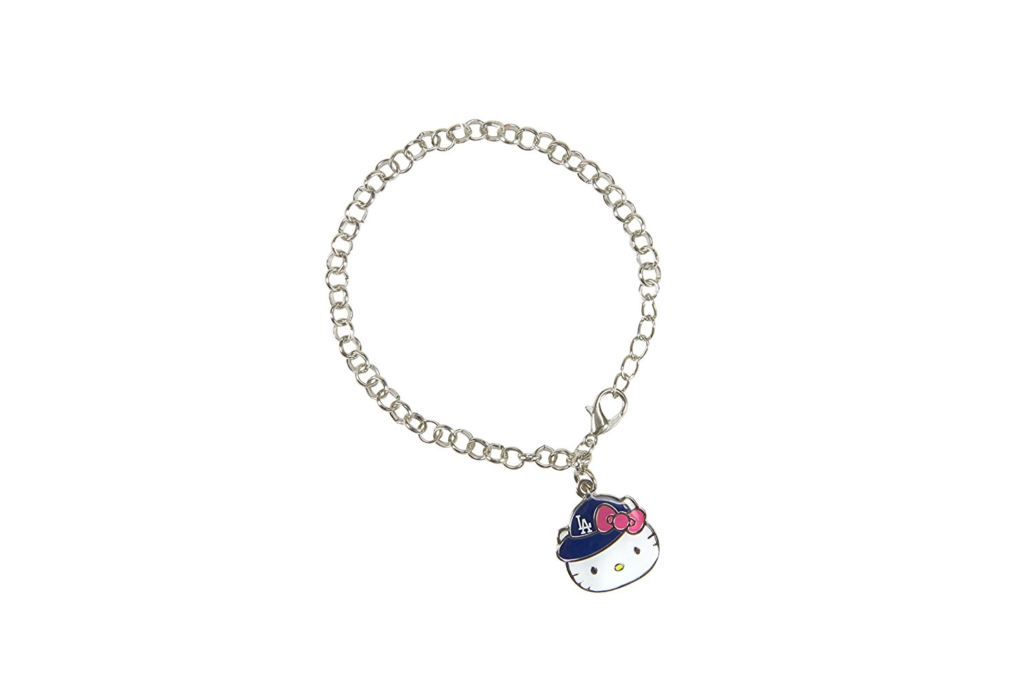 f1ee56387 Get Quotations · MLB Los Angeles Dodgers Hello Kitty Cap Charm Bracelet